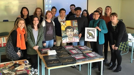 Elizabeth Rankin with postgraduate students in Museums and Cultural Heritage