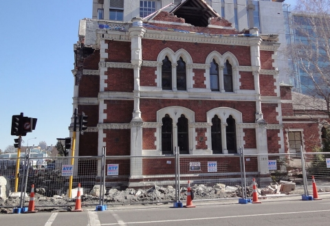 A damaged building after the Christchurch earthquake